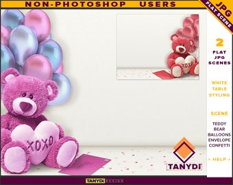 Table Styling | 2 Styled JPG Scenes | Non-Photoshop | White Valentine Table | Teddy Bear Envelope | Confetti & Balloons | Blank Empty wall