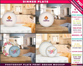 White Dinner Plate | Photoshop Print Mockup P4-3 | Set of 2 Plates Gold trim | Kitchen table interior | Smart object Custom color