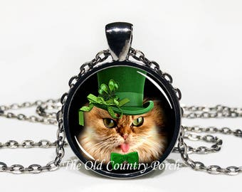 Shamrock Cat-Top Hat-St. Patrick's Day-Glass Pendant Necklace