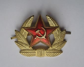 Soviet Russian Army Red Star Hammer & Sickle Hat Badge USSR Military Cockade