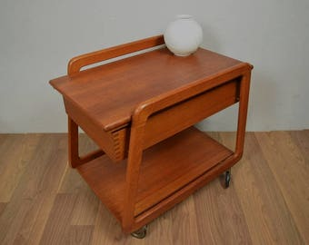 Vintage sewing basket, sewing box, side table   danish design   mid century   50s
