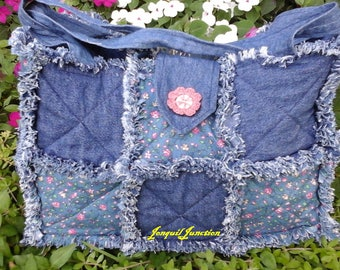 Denim and floral rag purse, ladies purse, denim purse, blue floral purse, rag purse, shabby chic purse, pink & blue purse, shabby seam purse