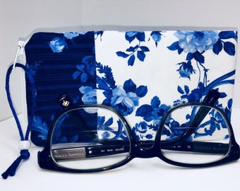 Blue Floral Sunglass Case, Case For Glasses, Eyeglass Case, Zipper Top Glasses Case, Glasses Case, Eyeglasses Case, Fabric Glasses Case