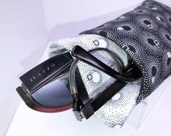 Black and White Double Eyeglass Case, Eyeglasses Case, Double Pocket Sunglasses Pouch, Eyeglasses Organizer, Soft Eyeglass Case