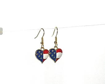 July 4th earrings, red white and blue jewelry, 4th of July earrings for her, Patriotic earrings for July 4th, stars and stripes earrings