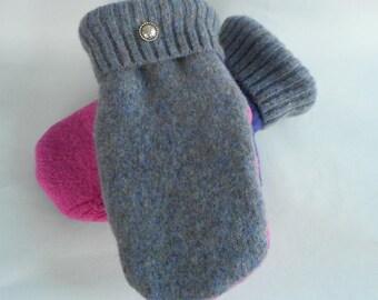 Ladies HeatherPurple/ Hot Pink/Purple Upcycled Felted Wool Sweater Mittens With Bright Purple Fleece Lining
