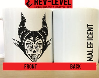 Maleficent Day Of The Dead Sugar Skull Mug - Día de los Muertos Inspired by Disney's Sleeping Beauty Cup by Rev-Level