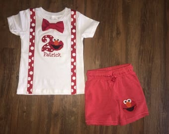 Elmo Inspired Birthday Outfit with Suspenders, Bowtie & Shorts
