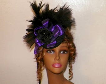 Victorian Hat Purple Fascinator Black Headdress Lolita Feather Steampunk Costume Headpiece Old West  Marie Antoinette