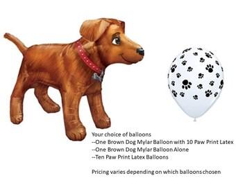 Dog Balloon with paw print latex balloons