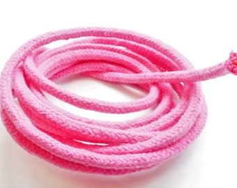 1 meter braided baker's cord, pink, 6 mm