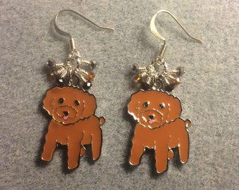 Small brown enamel cockapoo charm earrings adorned with tiny dangling amber, black, and silver Chinese crystal beads.