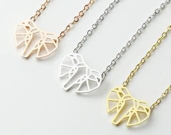 Origami Elephant Pendant Necklace Geometric Pendant Necklace Best Friend Necklace - OEN