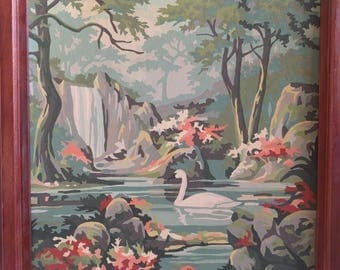 Vintage Lake and Swan Paint By Numbers.