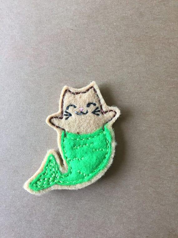 Mermaid Cat Feltie, Mermaid Cat Embellishment. Choose 1, 2 or 4
