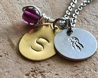 Custom birthday necklace initial necklace custom charm necklace birthstone necklace birthday gift for her best friend gift daughter gift