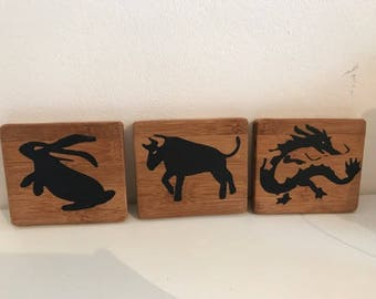 Bamboo handpainted coasters with chinese zodiac