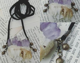 Bejeweled - Cow Tooth & Amethyst Necklace