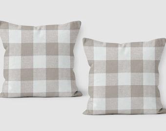Set of 2 - Beige Check Pillow - Buffalo Check Pillow - Plaid Throw Pillow Cover