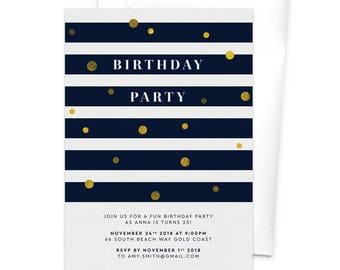 Birthday Party Invitation / Milestone Birthday / 30th Birthday / 40th Birthday / 50th Birthday / 60th Birthday / 70th Birthday / Confetti