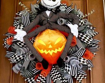 Sale! Jack Skellington Wreath, Nightmare Before Christmas Wreath, Pumpkin King Wreath, Halloween Wreath, Jack Skellington Door Hanger