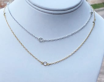 """White Topaz """"Diamonds"""" by the Foot Chain, Sterling Silver and 18K Gold Vermeil, Pendant Chain, Oxidized White Topaz Station Chain"""