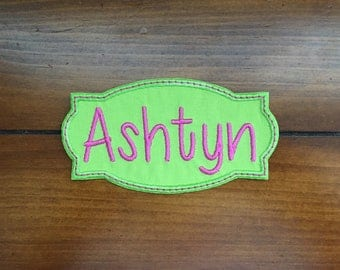 """Iron-on LIME/Pink Name Patch Applique, 3.75"""" or 4.75"""", Backpack Name Patch, Lunch Bag Name Patch ***Ready to Ship in 1-3 Days!"""