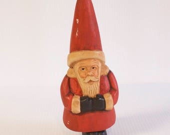 Vintage Wooden Hand carved Santa Claus figurine - 10 1/2 inches tall - Old World Santa