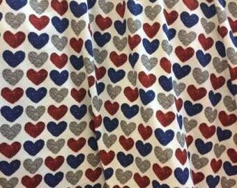Euro Oeko-Tex Knit Glitter Patriotic Hearts Fabric 1/2 yard