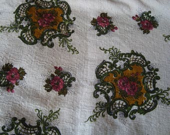 Vintage cotton fabric floral roses white background