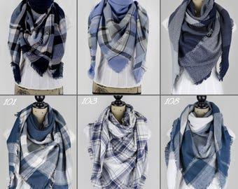 Blanket scarf blue, navy, gray, fall scarf oversized, personalized scarf, blanket scarf monogram, bridesmaid shawls, fall wedding, fall gif