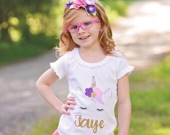 Unicorn Shirt, Personalized Unicorn Shirt, Unicorn t shirt, Unicorn Birthday,Girls first birthday outfit,Girls First Birthday,Girls Birthday