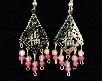Silver and Pink Chandelier Earrings