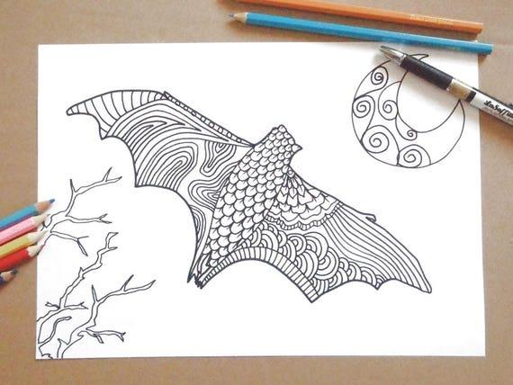 Halloween pipistrello pagina da colorare adulti doodle gotico - Pagina da colorare per halloween ...