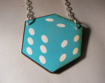 rockabilly punk dice necklace goth emo lucky gaming blue