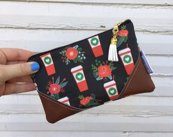 Floral Coffee Mini Tassel Zipper Clutch