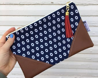 Navy Blue Diamonds Tassel Clutch