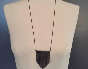"""Necklace """"NINE"""" fringed black leather, metallic bronze"""