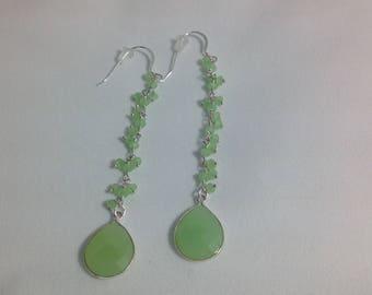 Green Chalcedony Teardrop Earrings, Sterling Silver French Earwires, Faceted Gemstone Briolette Sterling Silver Bezel Pendant, Boho