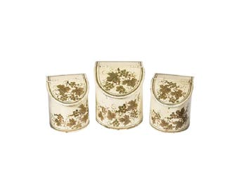 French Antique Tole Canisters Set Of Three Hand Painted French Gold /Cream  Canisters Painted Grape