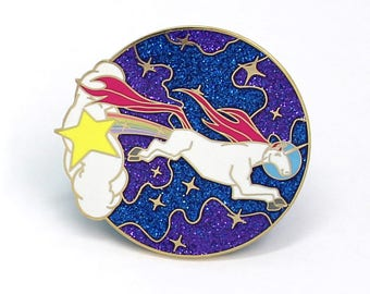 Unicorn, Stocking Stuffer, Christmas Gift, Unicorn Enamel Pin, Holiday Gift for Her, Enamel Pin, Unicorn Gift, Glitter Enamel Pin