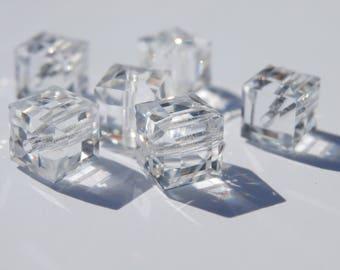 8 Swarovski 6 mm crystal cubes
