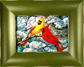 Framed Print - Yellow and Red Cardinal in Pine Tree