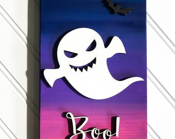 Halloween, halloween sign, skeleton, trick or treat, laser cut, handpainted, wood sign, halloween decor, bat, ombre, pumpkin, ghost