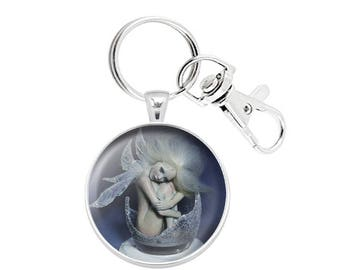 Pocket Fairy Keychain Pendant 3D Dome Cabochon Paperweight Silver Plated Lobster Keyring OOAK Sculpture Miniature Art Print Collectible