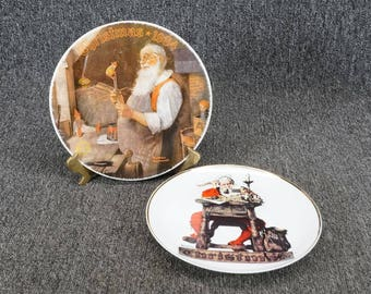Vintage Norman Rockwell 2 Christmas Collector's Plates