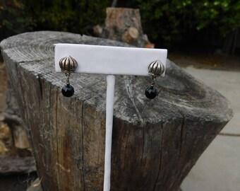 Lisa Jenks pierced earrings onyx and sterling stud drops rare vintage sold out designer modernist earrings.