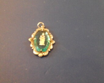Rosary PendentTurquoise colored glass