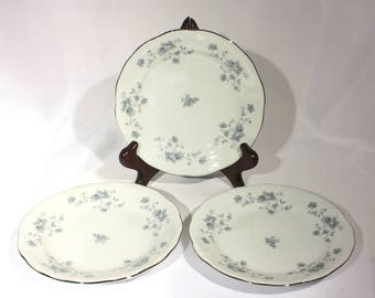 Set of 3 Johann Haviland Blue Garland Bread Plates, Blue Flowers, Bavaria Fine China Dinnerware