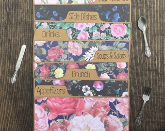 Floral Recipe Card Dividers 3x5, 4x6